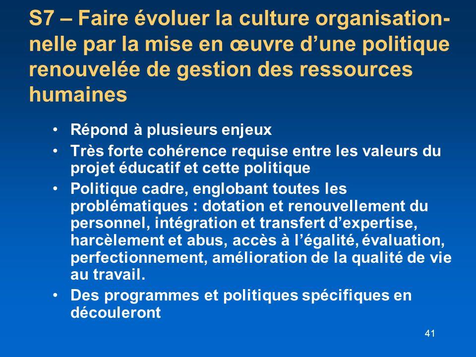 41 S7 – Faire évoluer la culture organisation- nelle par la mise en œuvre dune politique renouvelée de gestion des ressources humaines Répond à plusie