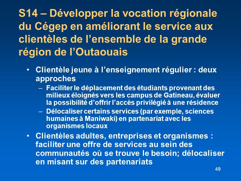 49 S14 – Développer la vocation régionale du Cégep en améliorant le service aux clientèles de lensemble de la grande région de lOutaouais Clientèle je