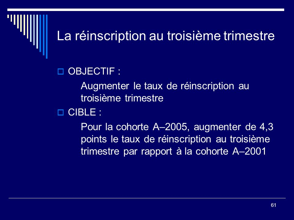 61 La réinscription au troisième trimestre OBJECTIF : Augmenter le taux de réinscription au troisième trimestre CIBLE : Pour la cohorte A–2005, augmen