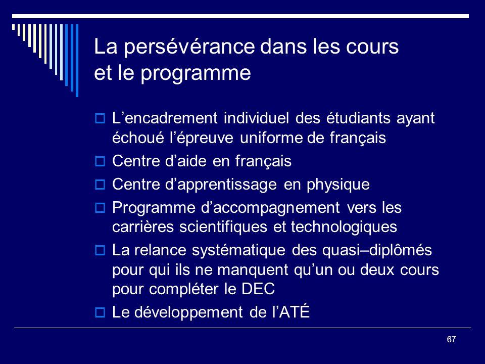 67 La persévérance dans les cours et le programme Lencadrement individuel des étudiants ayant échoué lépreuve uniforme de français Centre daide en fra