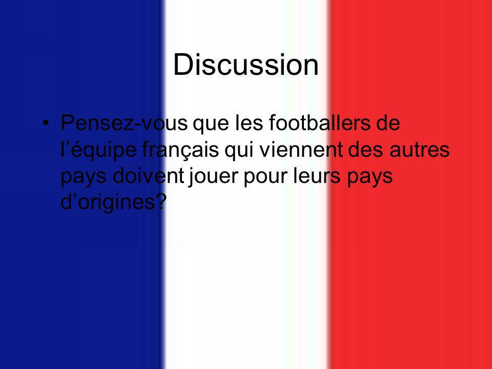 Discussion Pensez-vous que les footballers de léquipe français qui viennent des autres pays doivent jouer pour leurs pays dorigines?