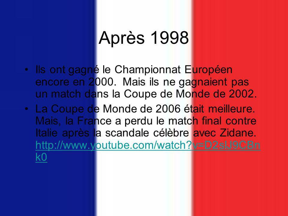 Après 1998 Ils ont gagné le Championnat Européen encore en 2000.