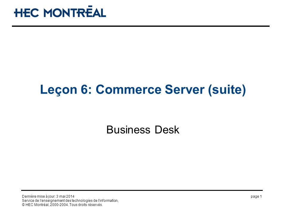 page 1Dernière mise à jour: 3 mai 2014 Service de l'enseignement des technologies de l'information, © HEC Montréal, 2000-2004. Tous droits réservés. L