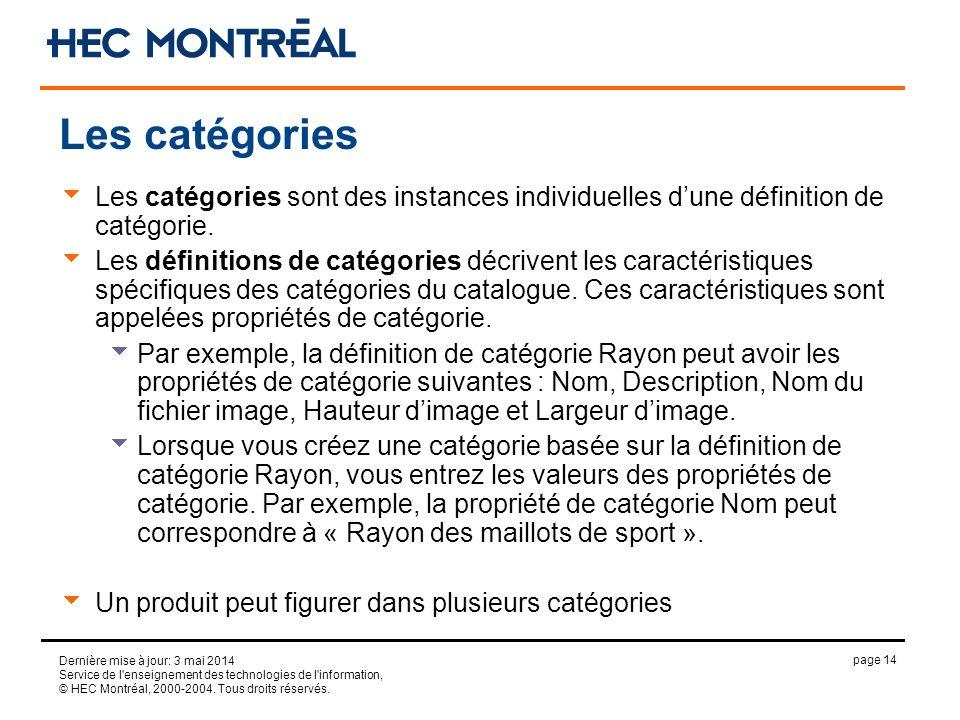 page 14 Dernière mise à jour: 3 mai 2014 Service de l'enseignement des technologies de l'information, © HEC Montréal, 2000-2004. Tous droits réservés.