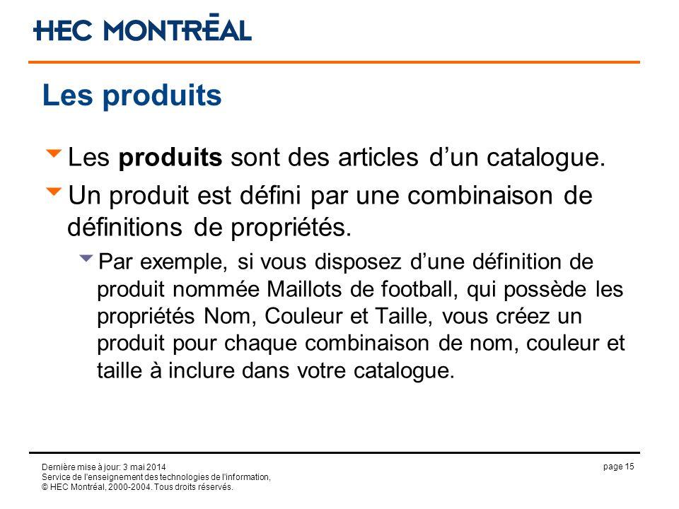 page 15 Dernière mise à jour: 3 mai 2014 Service de l'enseignement des technologies de l'information, © HEC Montréal, 2000-2004. Tous droits réservés.