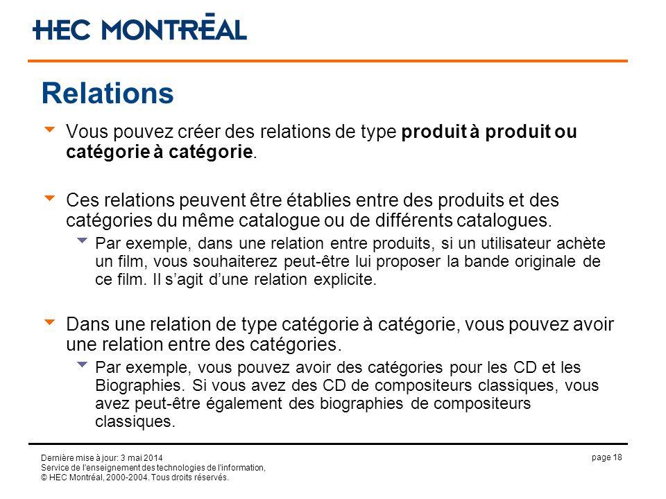 page 18 Dernière mise à jour: 3 mai 2014 Service de l'enseignement des technologies de l'information, © HEC Montréal, 2000-2004. Tous droits réservés.