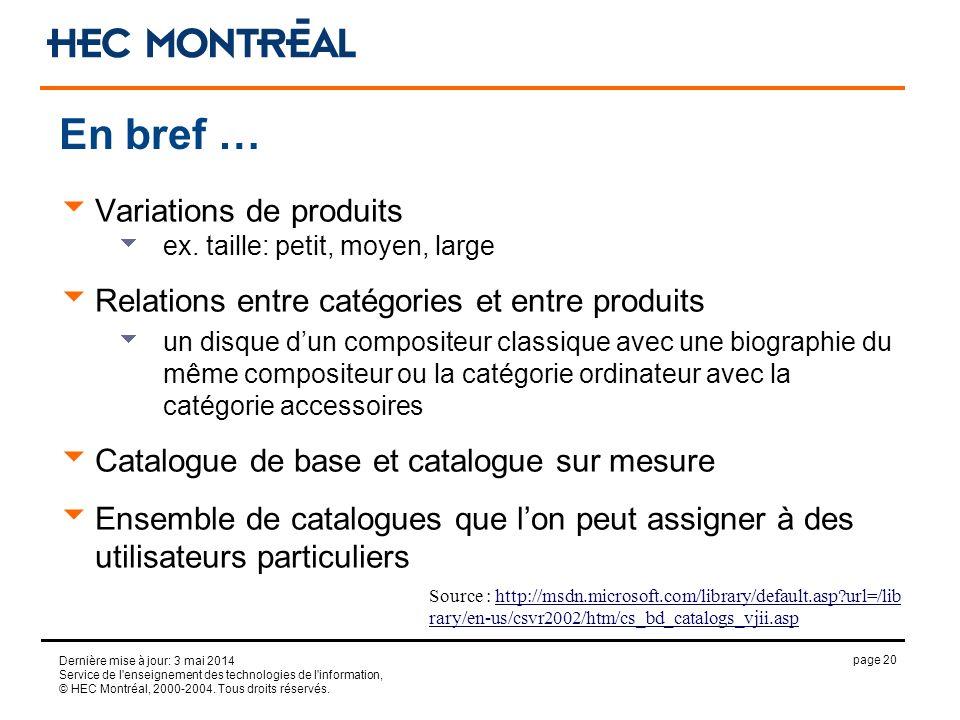 page 20 Dernière mise à jour: 3 mai 2014 Service de l'enseignement des technologies de l'information, © HEC Montréal, 2000-2004. Tous droits réservés.