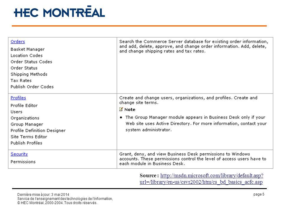 page 5 Dernière mise à jour: 3 mai 2014 Service de l'enseignement des technologies de l'information, © HEC Montréal, 2000-2004. Tous droits réservés.