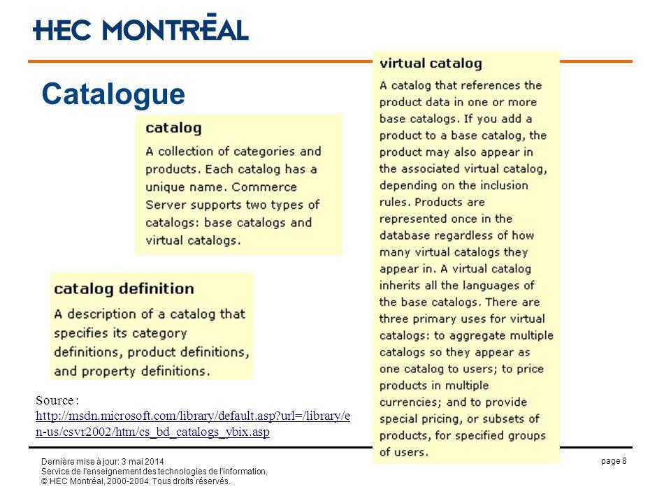 page 8 Dernière mise à jour: 3 mai 2014 Service de l'enseignement des technologies de l'information, © HEC Montréal, 2000-2004. Tous droits réservés.