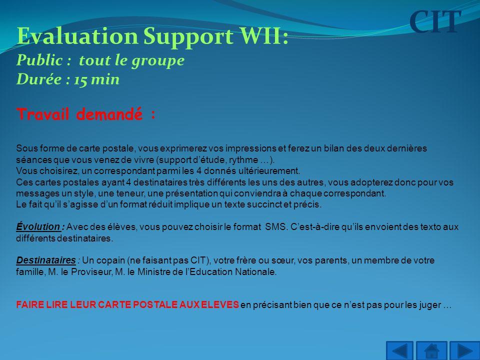 CIT Evaluation Support WII: Public : tout le groupe Durée : 15 min Travail demandé : Sous forme de carte postale, vous exprimerez vos impressions et f