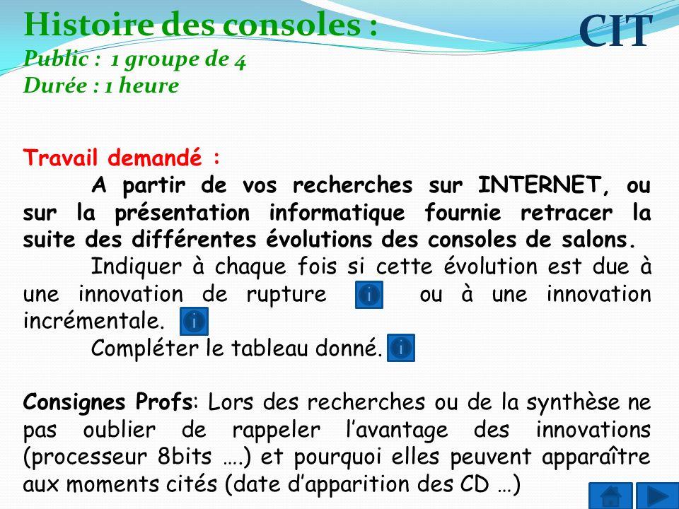 Histoire des consoles : Public : 1 groupe de 4 Durée : 1 heure Travail demandé : A partir de vos recherches sur INTERNET, ou sur la présentation infor