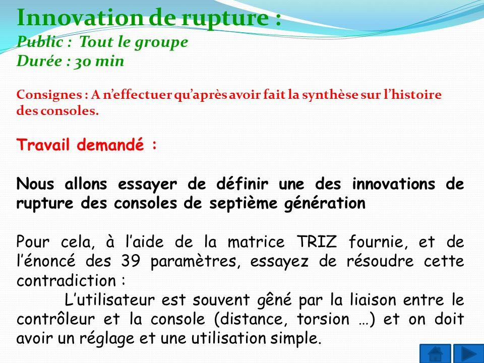 Innovation de rupture : Public : Tout le groupe Durée : 30 min Consignes : A neffectuer quaprès avoir fait la synthèse sur lhistoire des consoles. Tra