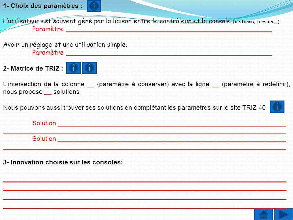 1- Choix des paramètres : Lutilisateur est souvent gêné par la liaison entre le contrôleur et la console (distance, torsion …) Paramètre _____________