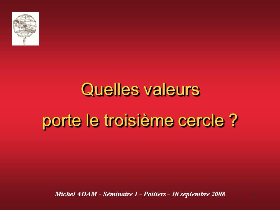 1 Quelles valeurs porte le troisième cercle ? Quelles valeurs porte le troisième cercle ? Michel ADAM - Séminaire 1 - Poitiers - 10 septembre 2008