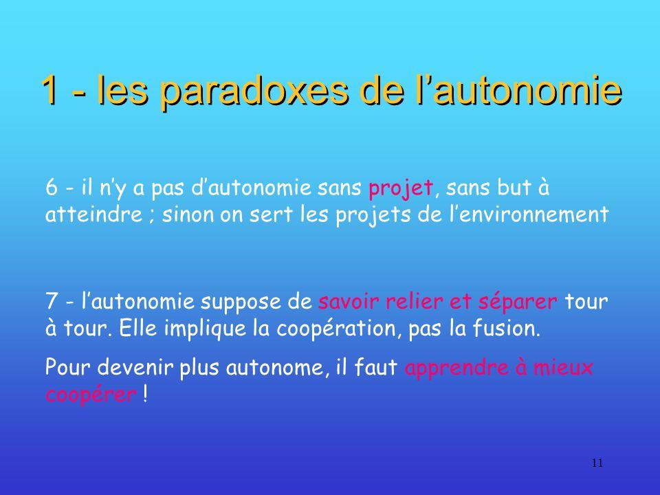 11 1 - les paradoxes de lautonomie 6 - il ny a pas dautonomie sans projet, sans but à atteindre ; sinon on sert les projets de lenvironnement 7 - laut