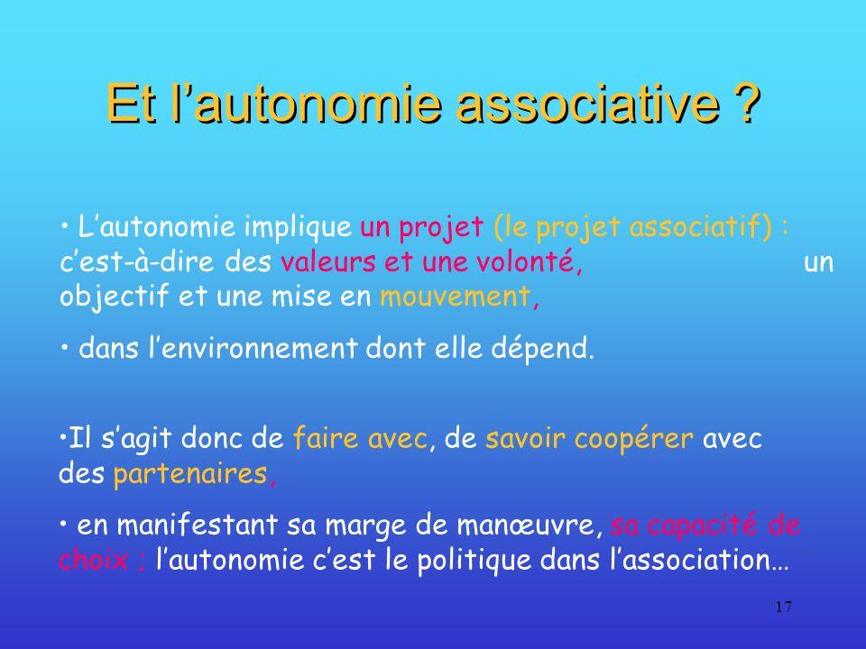 17 Et lautonomie associative ? Lautonomie implique un projet (le projet associatif) : cest-à-dire des valeurs et une volonté, un objectif et une mise