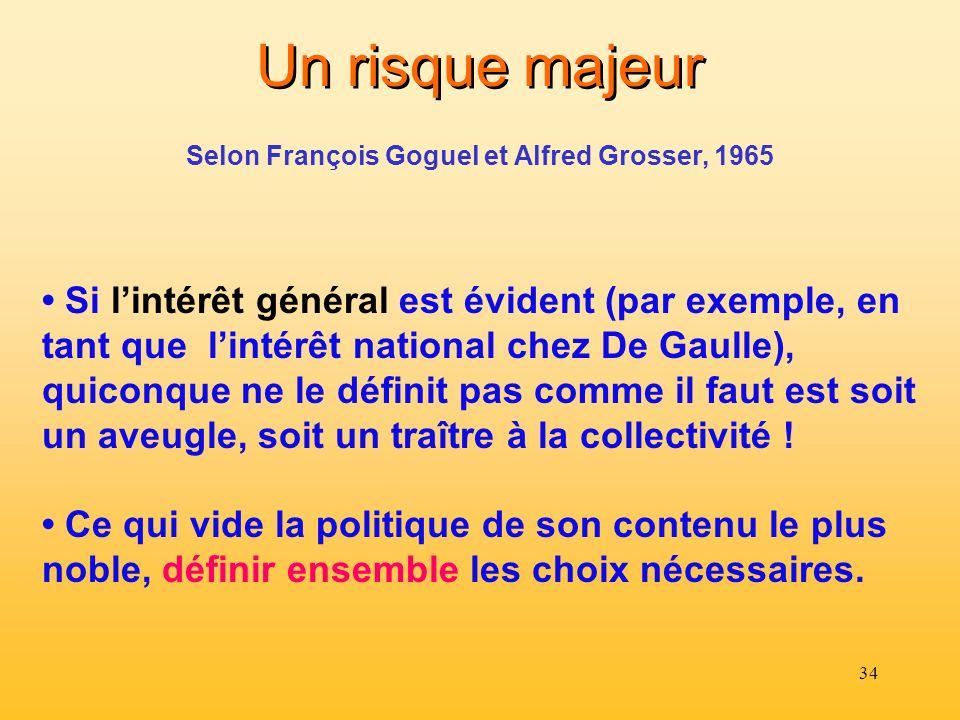 34 Un risque majeur Si lintérêt général est évident (par exemple, en tant que lintérêt national chez De Gaulle), quiconque ne le définit pas comme il