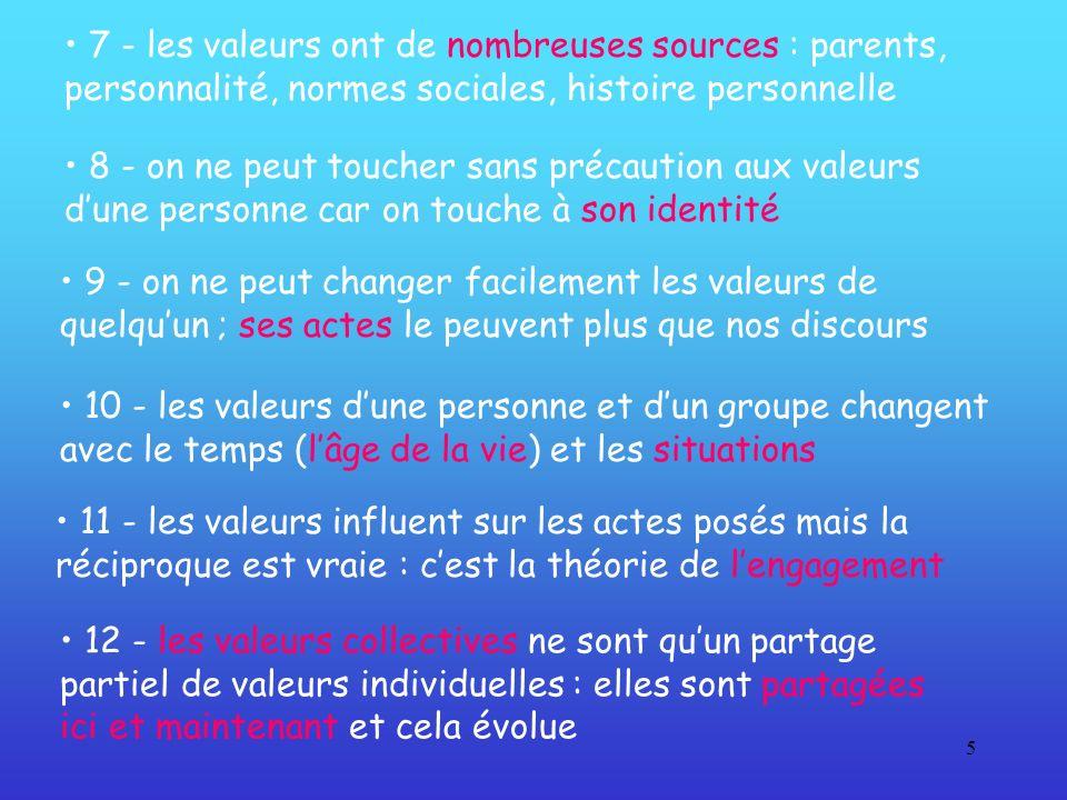 5 12 - les valeurs collectives ne sont quun partage partiel de valeurs individuelles : elles sont partagées ici et maintenant et cela évolue 8 - on ne
