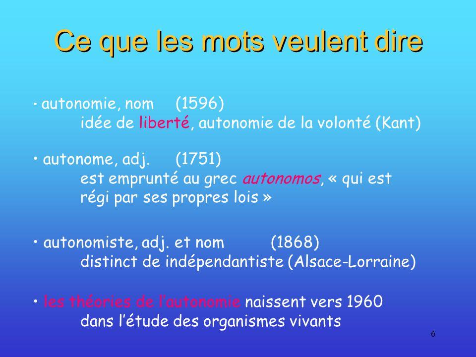 6 Ce que les mots veulent dire autonomie, nom(1596) idée de liberté, autonomie de la volonté (Kant) autonomiste, adj. et nom(1868) distinct de indépen