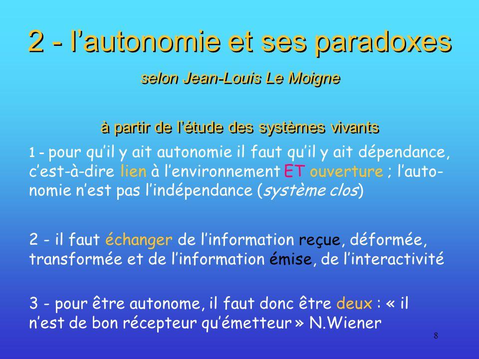 8 2 - lautonomie et ses paradoxes selon Jean-Louis Le Moigne à partir de létude des systèmes vivants 2 - lautonomie et ses paradoxes selon Jean-Louis