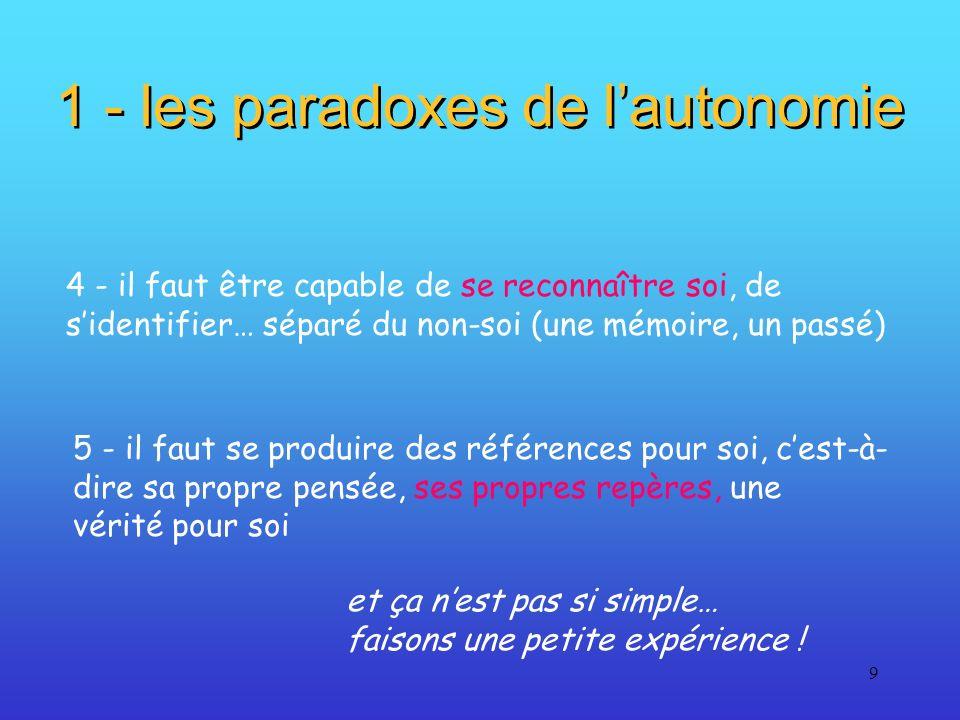 9 1 - les paradoxes de lautonomie 4 - il faut être capable de se reconnaître soi, de sidentifier… séparé du non-soi (une mémoire, un passé) 5 - il fau