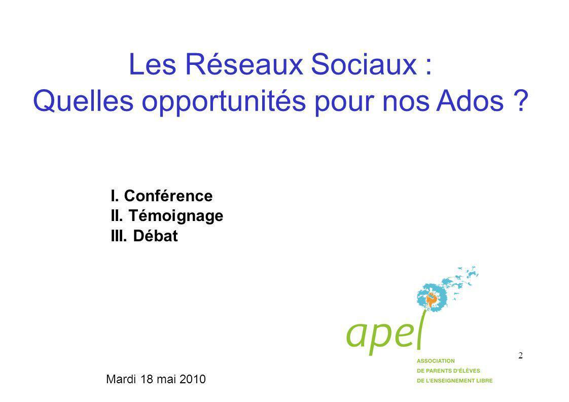 2 Les Réseaux Sociaux : Quelles opportunités pour nos Ados .
