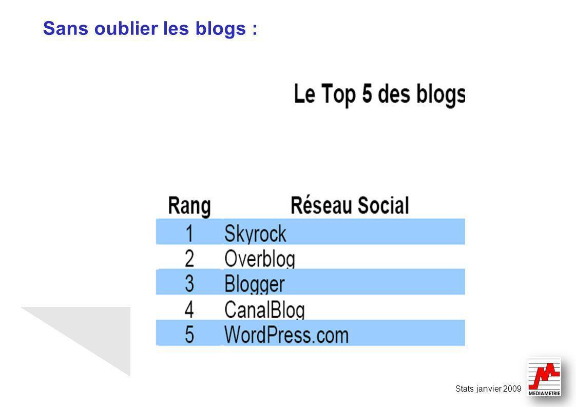 Sans oublier les blogs : Stats janvier 2009