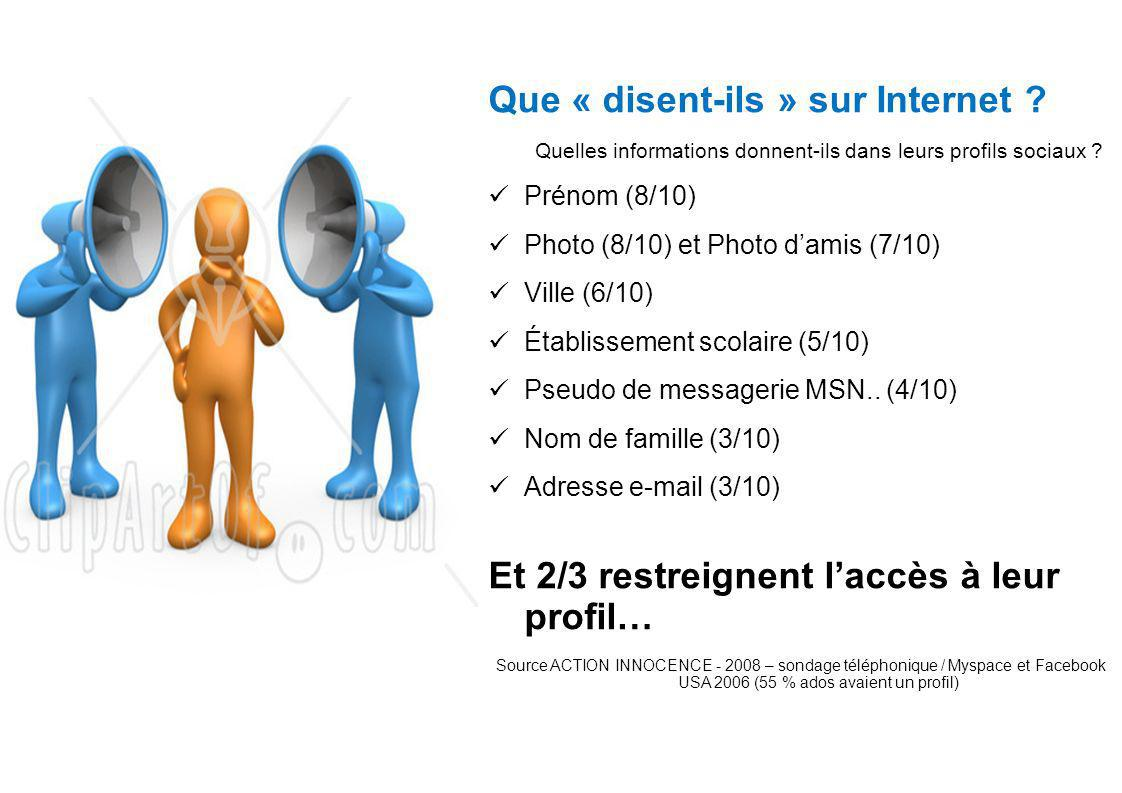 Que « disent-ils » sur Internet . Quelles informations donnent-ils dans leurs profils sociaux .