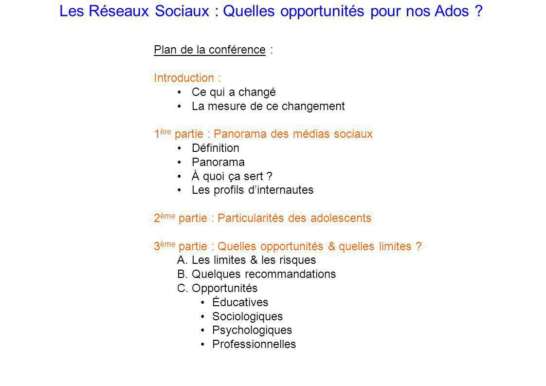 Les Réseaux Sociaux : Quelles opportunités pour nos Ados .