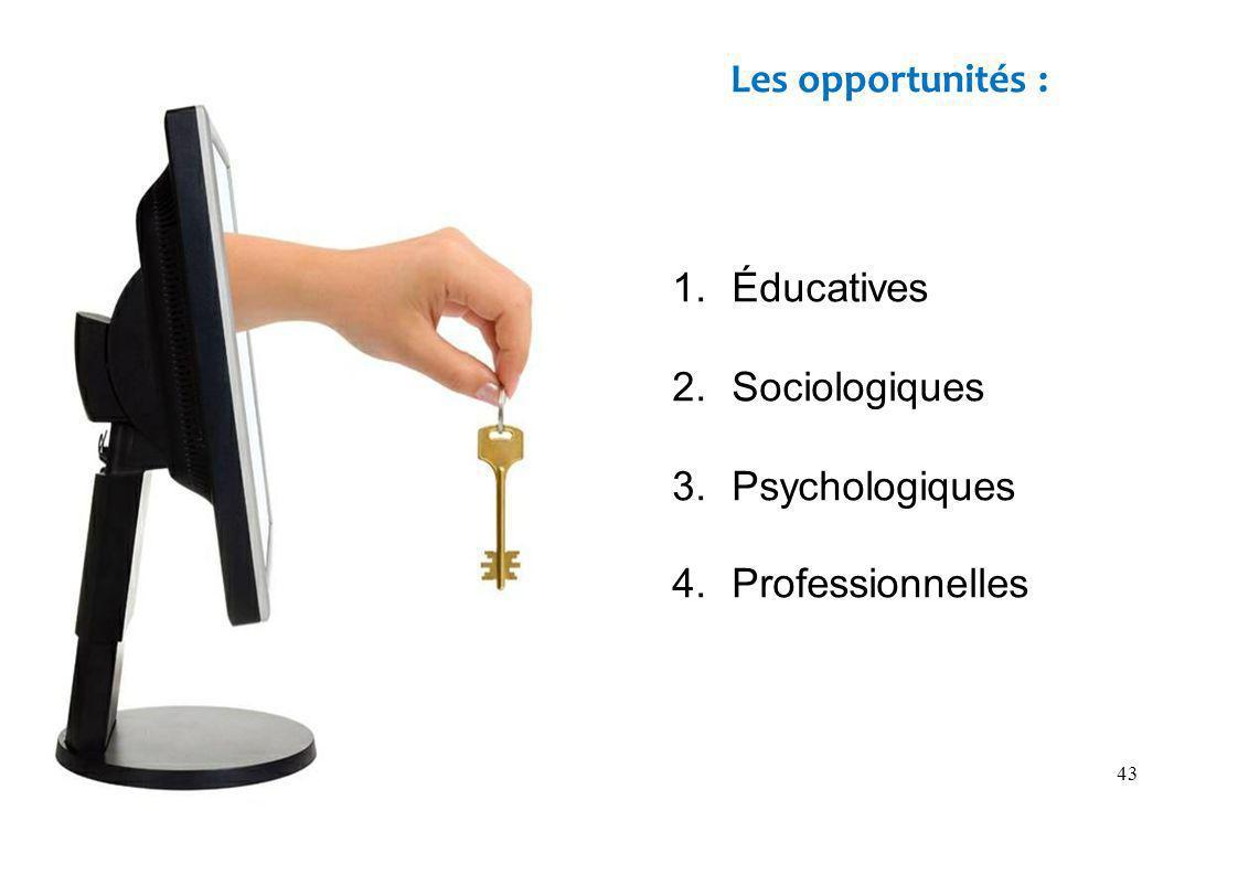 43 1.Éducatives 2.Sociologiques 3.Psychologiques 4.Professionnelles Les opportunités :