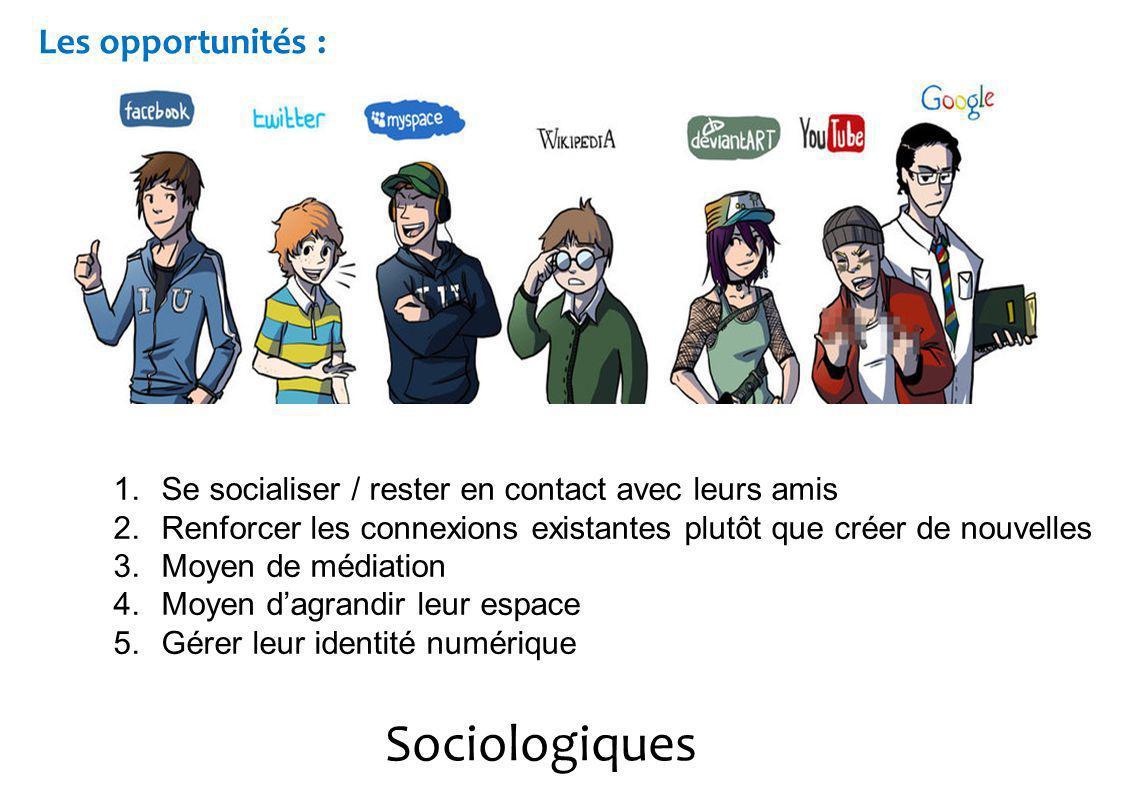 Sociologiques Les opportunités : 1.Se socialiser / rester en contact avec leurs amis 2.Renforcer les connexions existantes plutôt que créer de nouvelles 3.Moyen de médiation 4.Moyen dagrandir leur espace 5.Gérer leur identité numérique