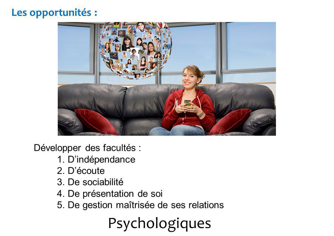 Psychologiques Les opportunités : Développer des facultés : 1.Dindépendance 2.Découte 3.De sociabilité 4.De présentation de soi 5.De gestion maîtrisée de ses relations
