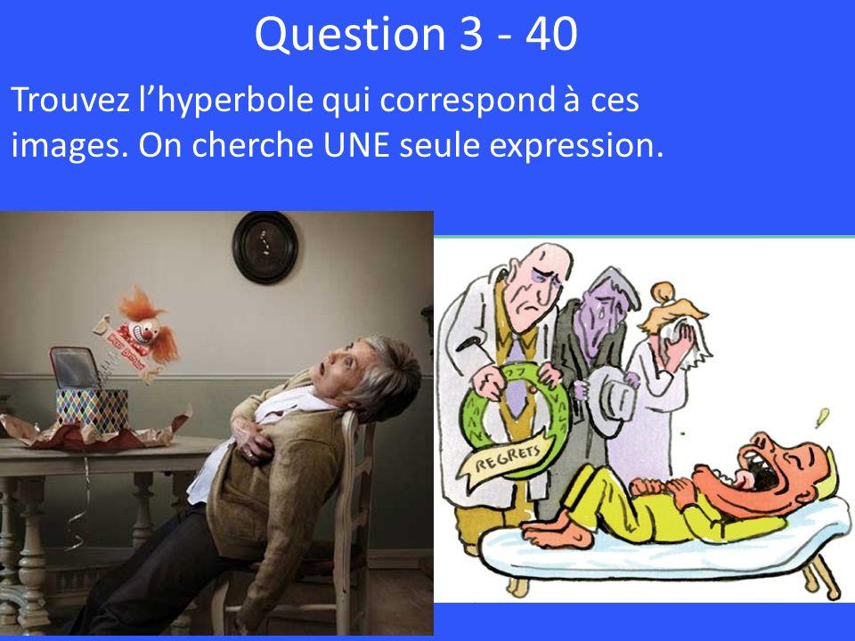 Question 3 - 40 Trouvez lhyperbole qui correspond à ces images. On cherche UNE seule expression.
