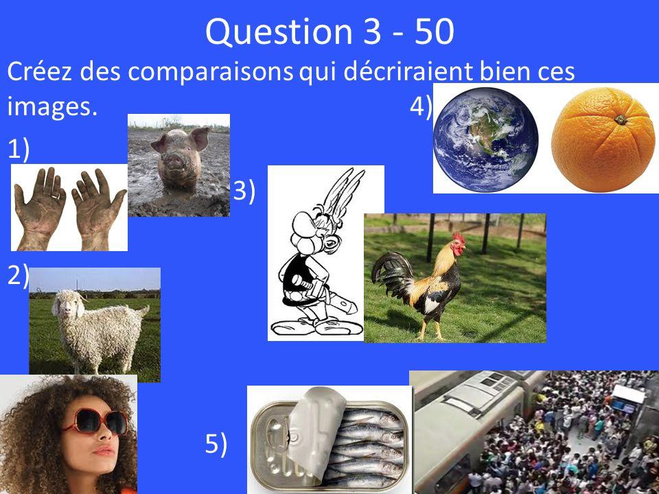 Question 3 - 50 Créez des comparaisons qui décriraient bien ces images. 4) 1) 3) 2) 5)