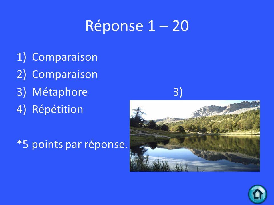 Réponse 1 – 20 1)Comparaison 2)Comparaison 3)Métaphore 3) 4)Répétition *5 points par réponse.
