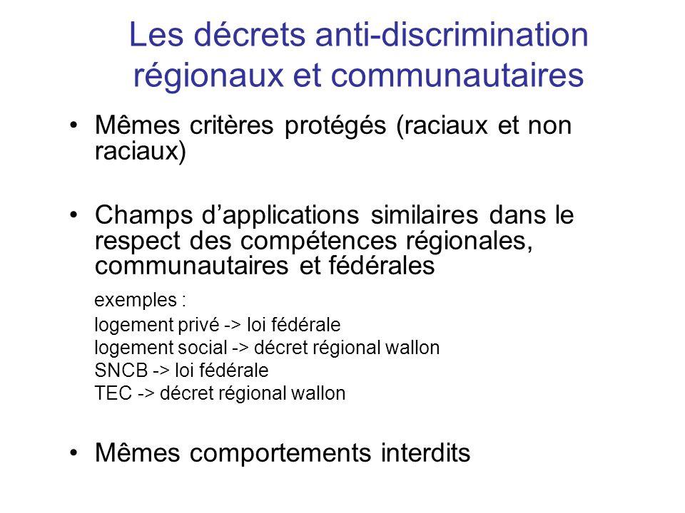 Les décrets anti-discrimination régionaux et communautaires Mêmes critères protégés (raciaux et non raciaux) Champs dapplications similaires dans le r