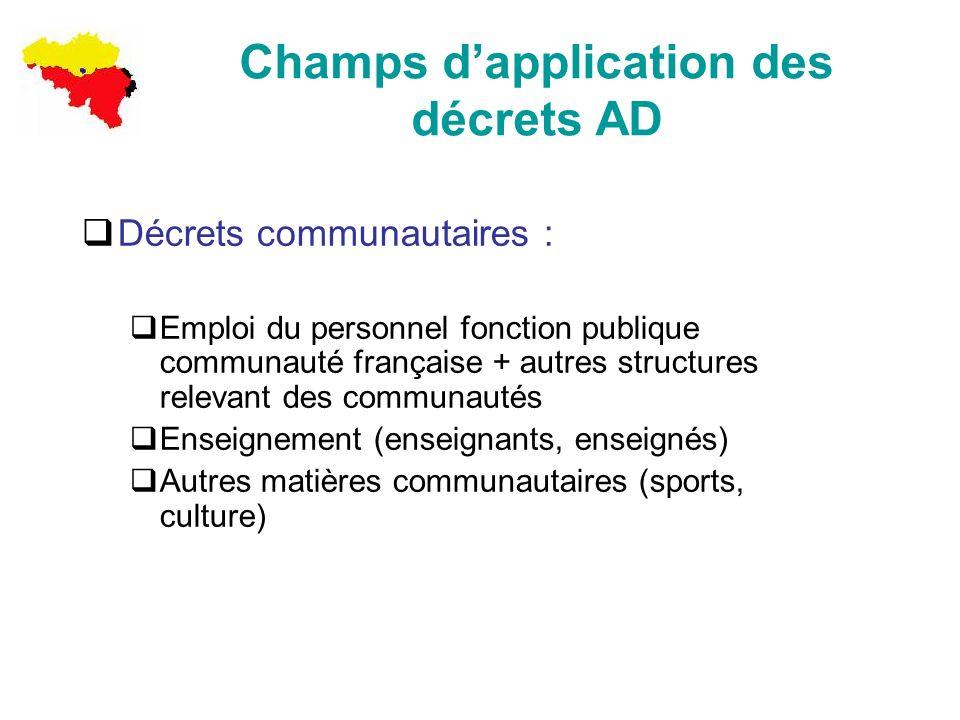 Champs dapplication des décrets AD Décrets communautaires : Emploi du personnel fonction publique communauté française + autres structures relevant de