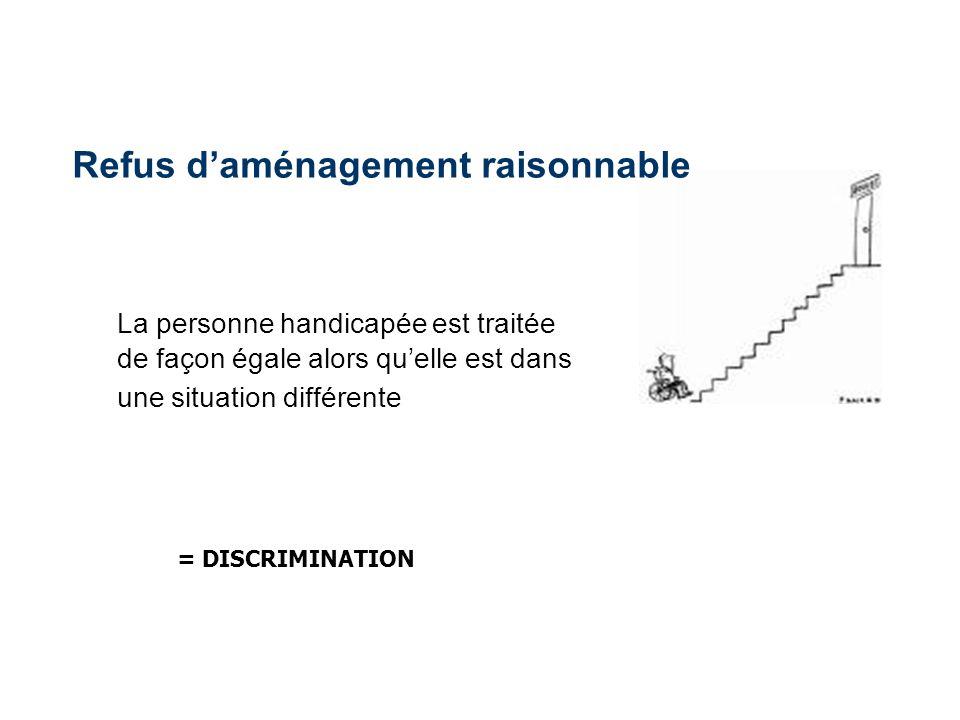 La personne handicapée est traitée de façon égale alors quelle est dans une situation différente = DISCRIMINATION Refus daménagement raisonnable