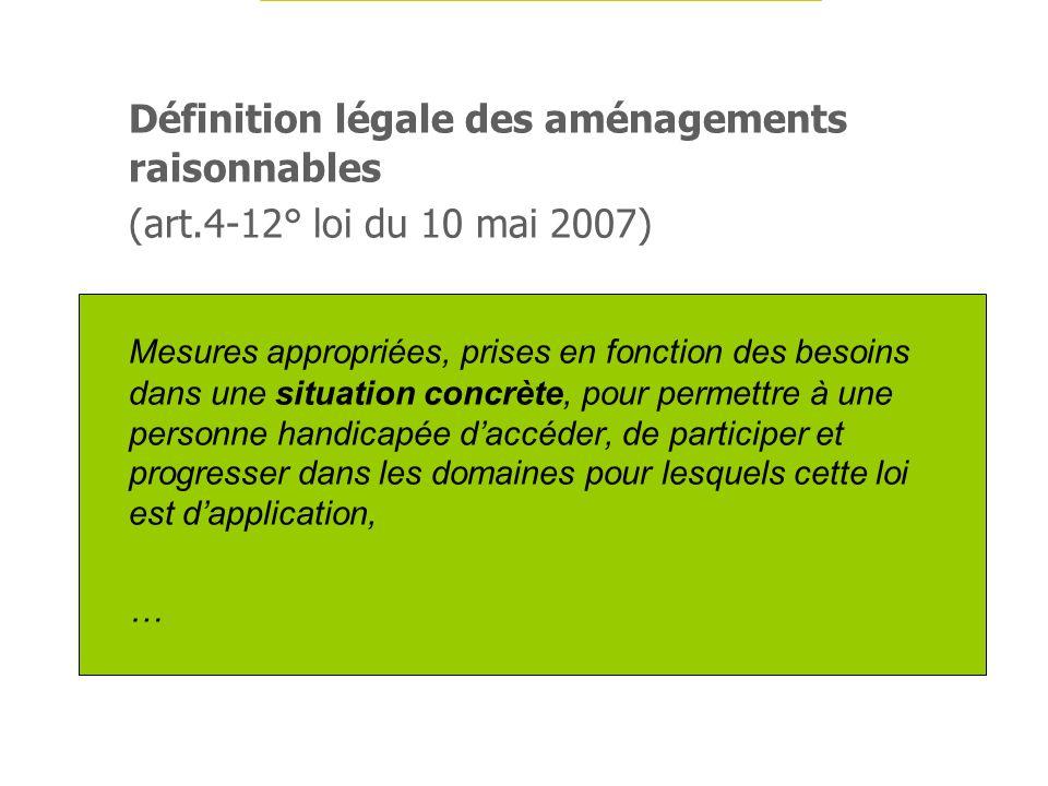Définition légale des aménagements raisonnables (art.4-12° loi du 10 mai 2007) Mesures appropriées, prises en fonction des besoins dans une situation