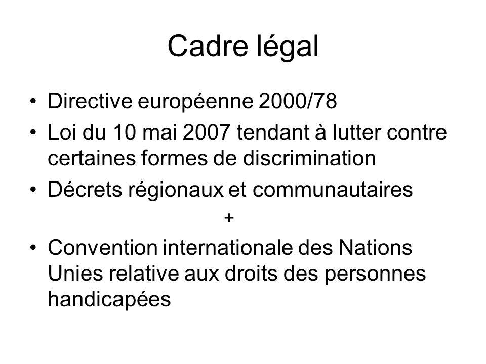 Cadre légal Directive européenne 2000/78 Loi du 10 mai 2007 tendant à lutter contre certaines formes de discrimination Décrets régionaux et communauta