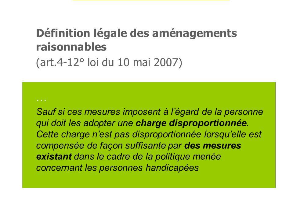 Définition légale des aménagements raisonnables (art.4-12° loi du 10 mai 2007) … Sauf si ces mesures imposent à légard de la personne qui doit les ado