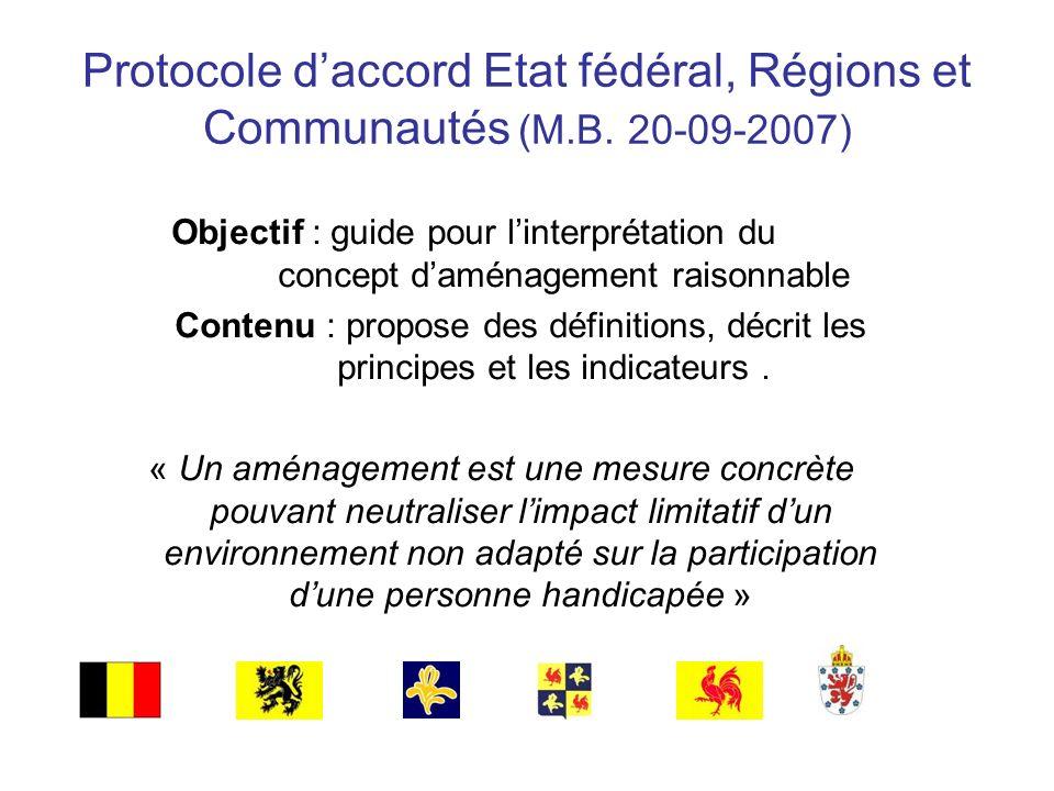 Protocole daccord Etat fédéral, Régions et Communautés (M.B. 20-09-2007) Objectif : guide pour linterprétation du concept daménagement raisonnable Con