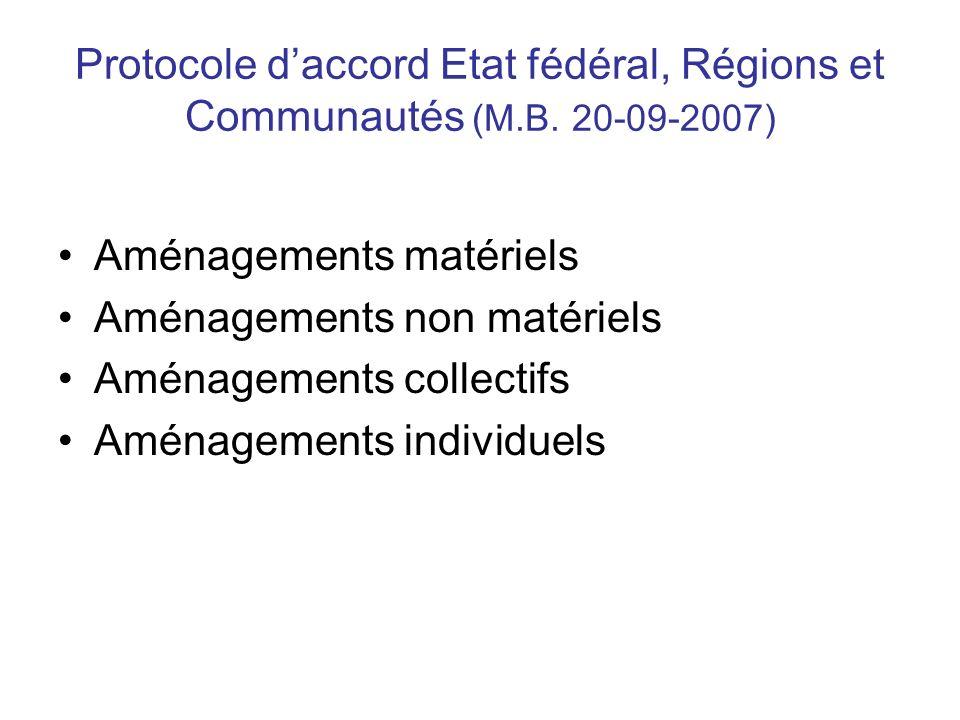 Protocole daccord Etat fédéral, Régions et Communautés (M.B. 20-09-2007) Aménagements matériels Aménagements non matériels Aménagements collectifs Amé