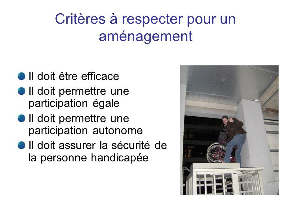 Critères à respecter pour un aménagement Il doit être efficace Il doit permettre une participation égale Il doit permettre une participation autonome