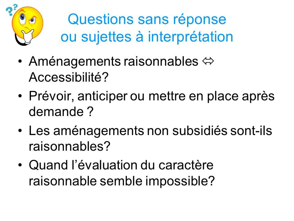 Questions sans réponse ou sujettes à interprétation Aménagements raisonnables Accessibilité? Prévoir, anticiper ou mettre en place après demande ? Les