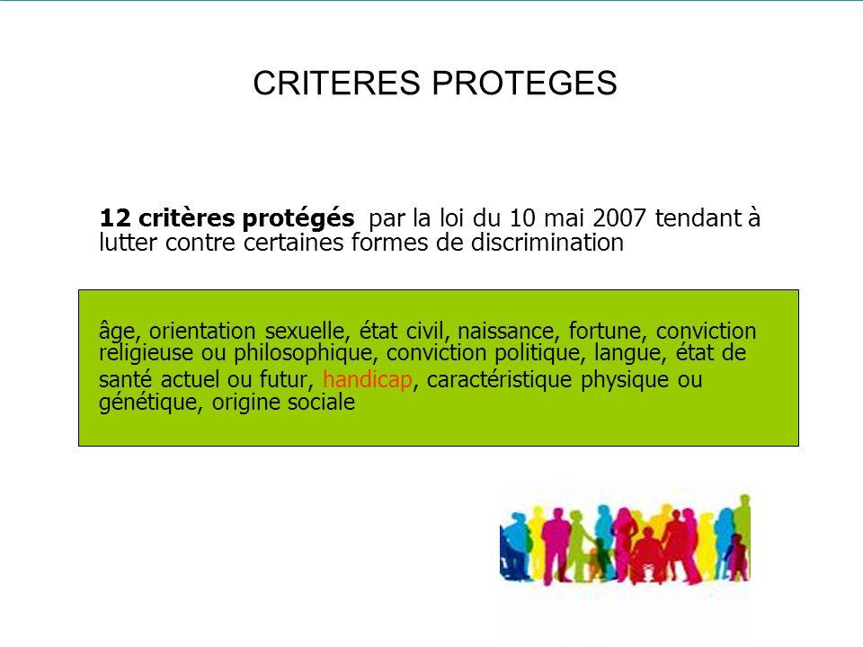 CRITERES PROTEGES 12 critères protégés par la loi du 10 mai 2007 tendant à lutter contre certaines formes de discrimination âge, orientation sexuelle,
