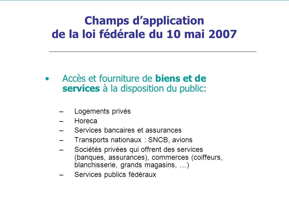 Champs dapplication de la loi fédérale du 10 mai 2007 Accès et fourniture de biens et de services à la disposition du public: –Logements privés –Horec