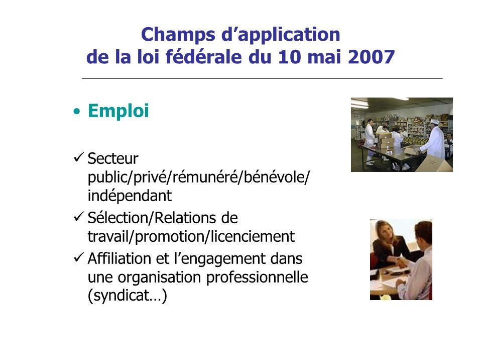 Champs dapplication de la loi fédérale du 10 mai 2007 Emploi Secteur public/privé/rémunéré/bénévole/ indépendant Sélection/Relations de travail/promot