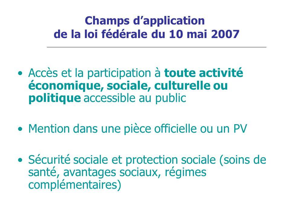 Champs dapplication de la loi fédérale du 10 mai 2007 Accès et la participation à toute activité économique, sociale, culturelle ou politique accessib