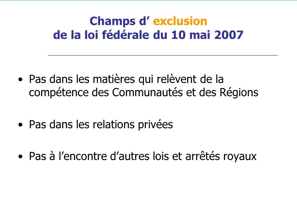Champs d exclusion de la loi fédérale du 10 mai 2007 Pas dans les matières qui relèvent de la compétence des Communautés et des Régions Pas dans les r